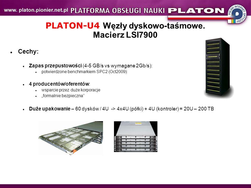 PLATON-U4 Węzły dyskowo-taśmowe. Macierz LSI7900 Cechy: Zapas przepustowości (4-5 GB/s vs wymagane 2Gb/s): potwierdzone benchmarkiem SPC2 (Oct2009): 4