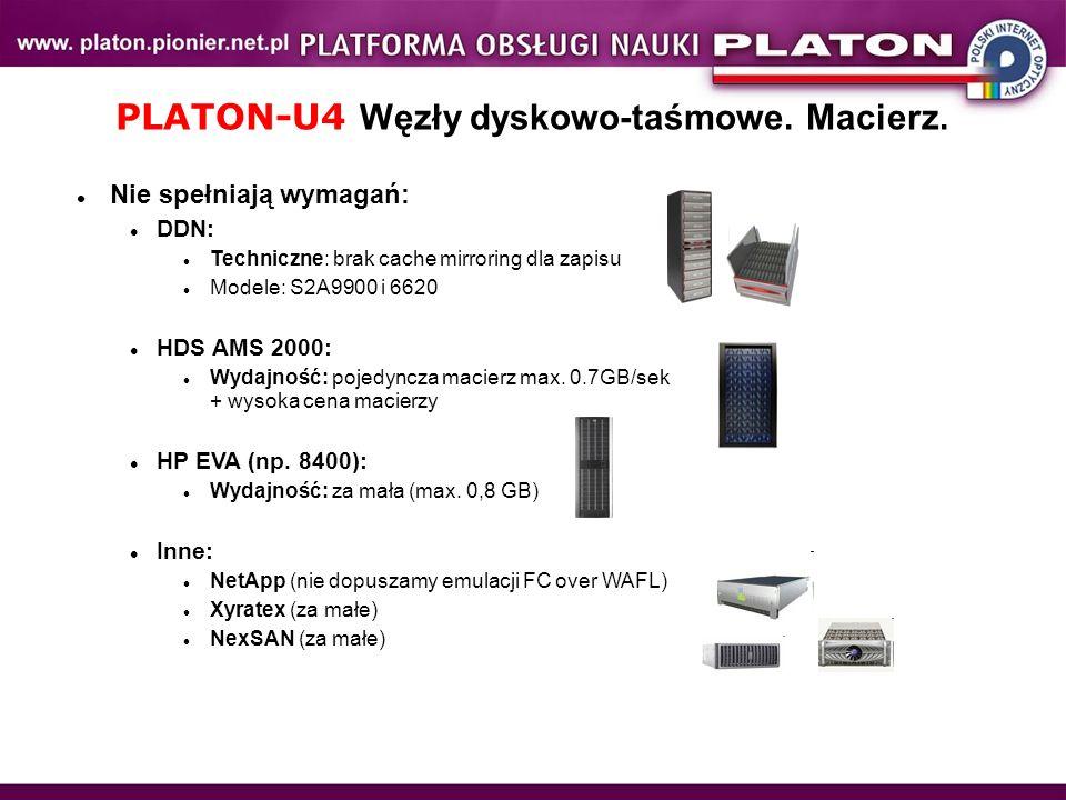 PLATON-U4 Węzły dyskowo-taśmowe. Macierz. Nie spełniają wymagań: DDN: Techniczne: brak cache mirroring dla zapisu Modele: S2A9900 i 6620 HDS AMS 2000: