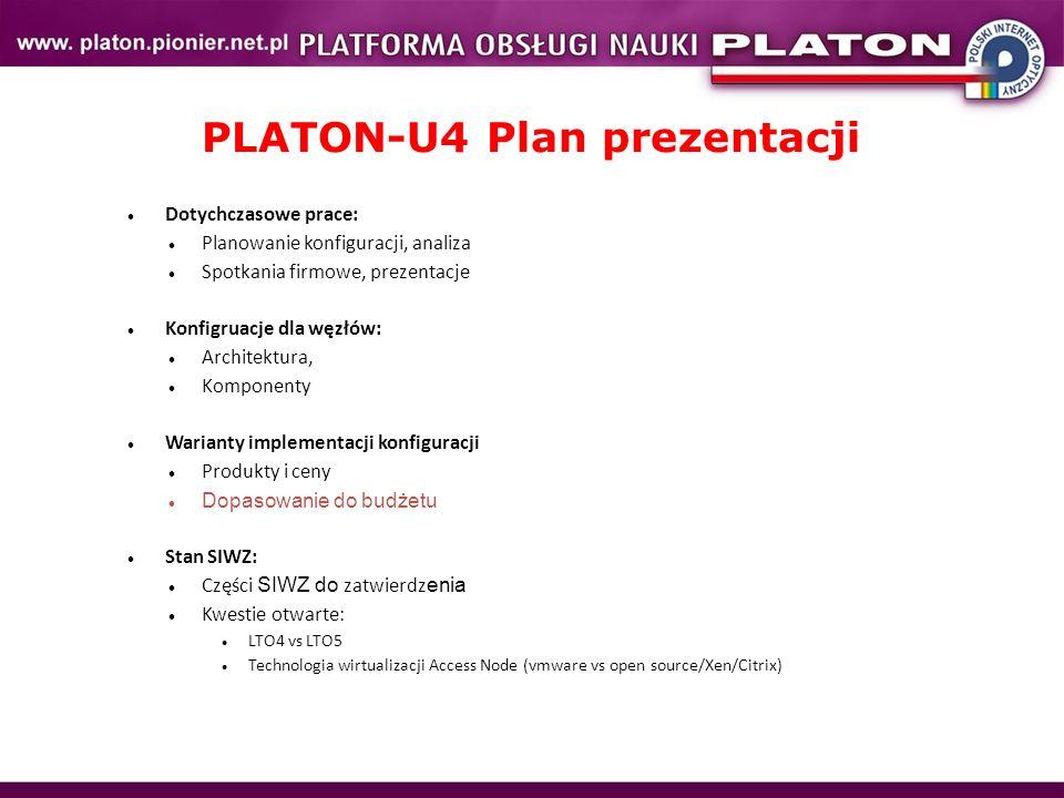 PLATON-U4 Plan prezentacji Dotychczasowe prace: Planowanie konfiguracji, analiza Spotkania firmowe, prezentacje Konfigruacje dla węzłów: Architektura,