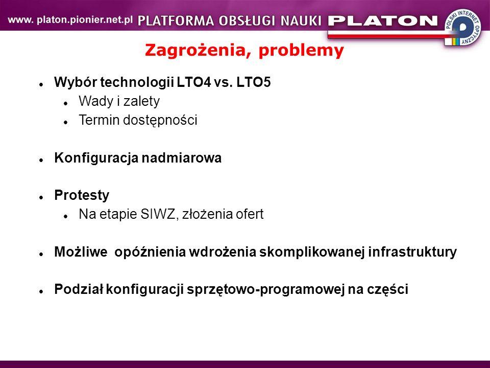 Zagrożenia, problemy Wybór technologii LTO4 vs. LTO5 Wady i zalety Termin dostępności Konfiguracja nadmiarowa Protesty Na etapie SIWZ, złożenia ofert