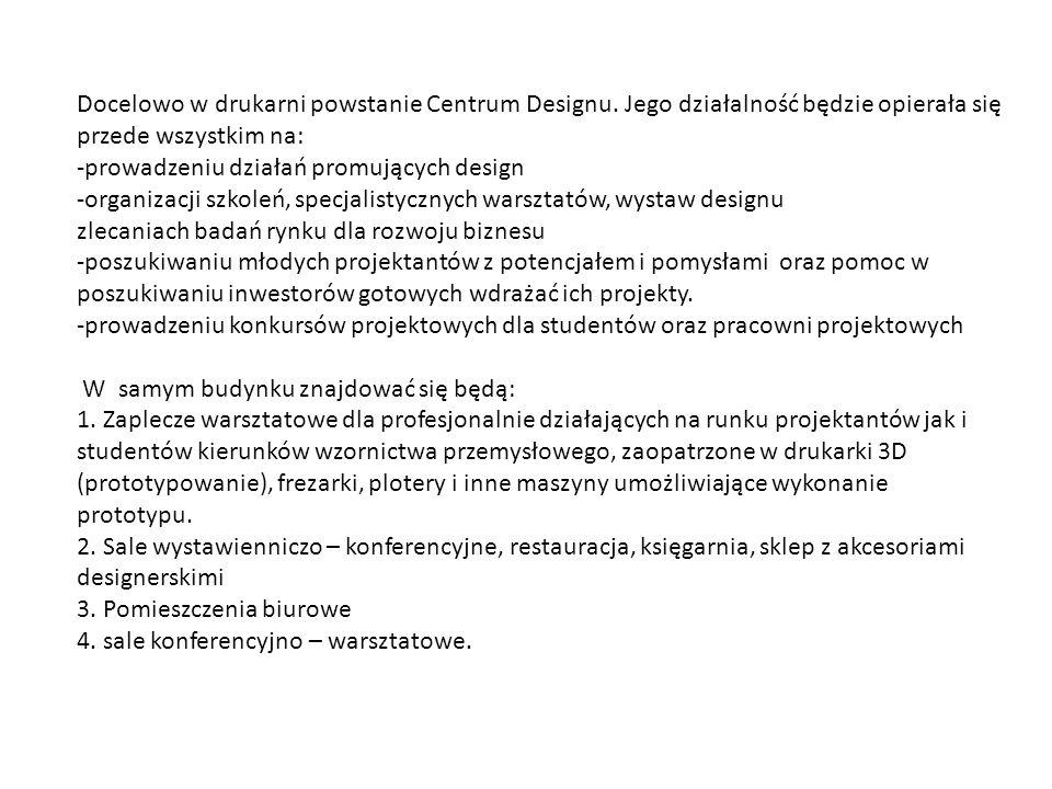 Docelowo w drukarni powstanie Centrum Designu. Jego działalność będzie opierała się przede wszystkim na: -prowadzeniu działań promujących design -orga
