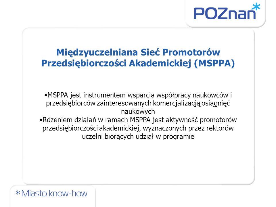 Międzyuczelniana Sieć Promotorów Przedsiębiorczości Akademickiej (MSPPA) MSPPA jest instrumentem wsparcia współpracy naukowców i przedsiębiorców zaint
