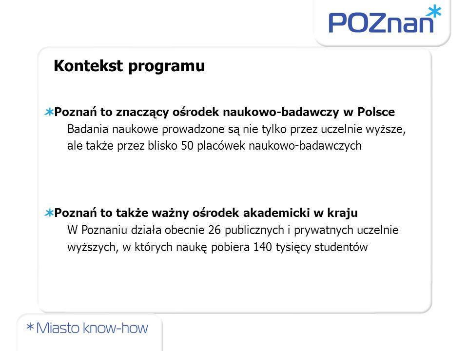 Poznań to znaczący ośrodek naukowo-badawczy w Polsce Badania naukowe prowadzone są nie tylko przez uczelnie wyższe, ale także przez blisko 50 placówek