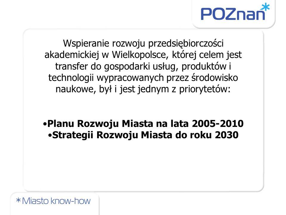 Wspieranie rozwoju przedsiębiorczości akademickiej w Wielkopolsce, której celem jest transfer do gospodarki usług, produktów i technologii wypracowany