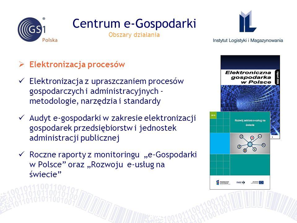 Centrum e-Gospodarki Obszary działania Elektronizacja procesów Elektronizacja z upraszczaniem procesów gospodarczych i administracyjnych - metodologie