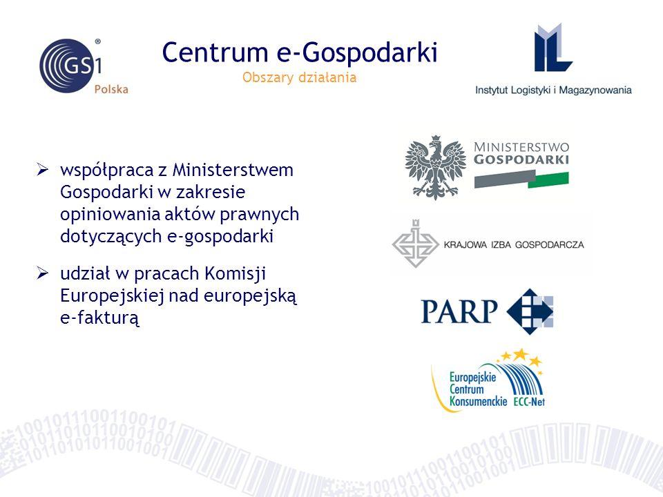 Centrum e-Gospodarki Obszary działania współpraca z Ministerstwem Gospodarki w zakresie opiniowania aktów prawnych dotyczących e-gospodarki udział w p