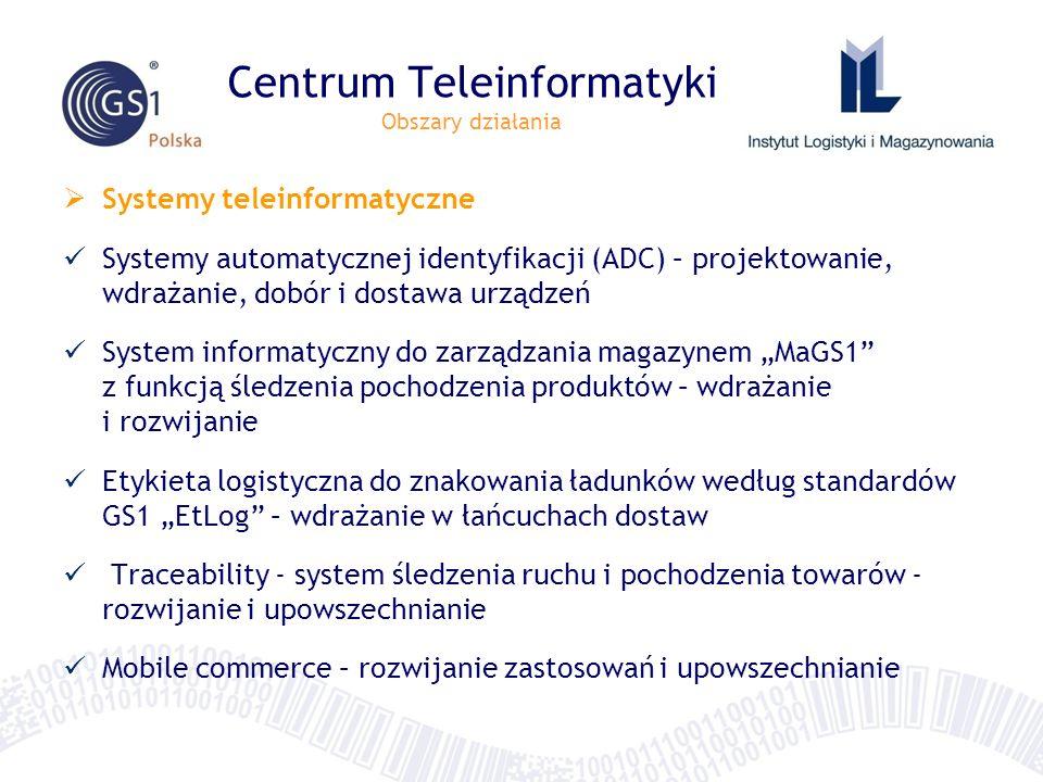 Centrum Teleinformatyki Obszary działania Systemy teleinformatyczne Systemy automatycznej identyfikacji (ADC) – projektowanie, wdrażanie, dobór i dost