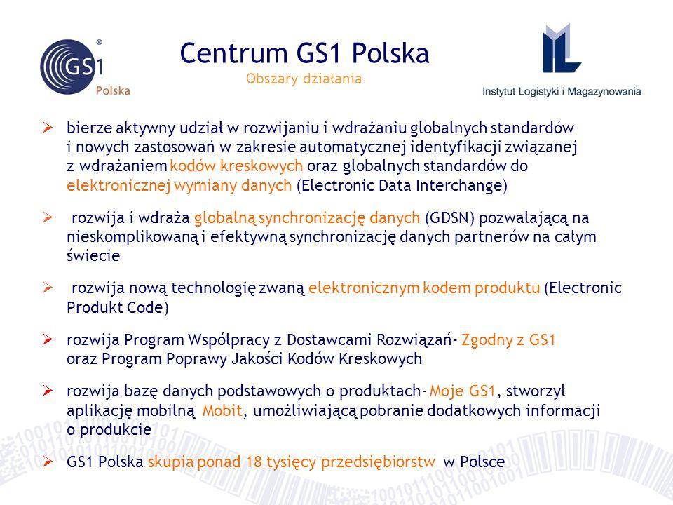 Centrum GS1 Polska Obszary działania bierze aktywny udział w rozwijaniu i wdrażaniu globalnych standardów i nowych zastosowań w zakresie automatycznej