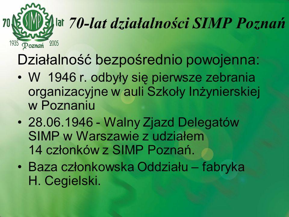 Działalność bezpośrednio powojenna: W 1946 r. odbyły się pierwsze zebrania organizacyjne w auli Szkoły Inżynierskiej w Poznaniu 28.06.1946 - Walny Zja