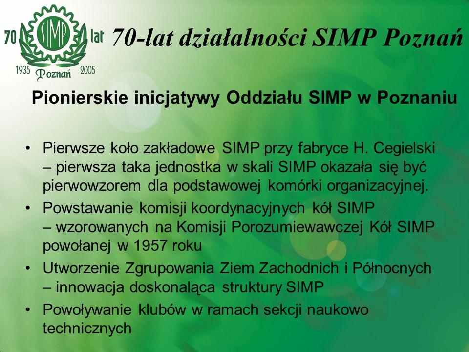 Pionierskie inicjatywy Oddziału SIMP w Poznaniu Pierwsze koło zakładowe SIMP przy fabryce H. Cegielski – pierwsza taka jednostka w skali SIMP okazała