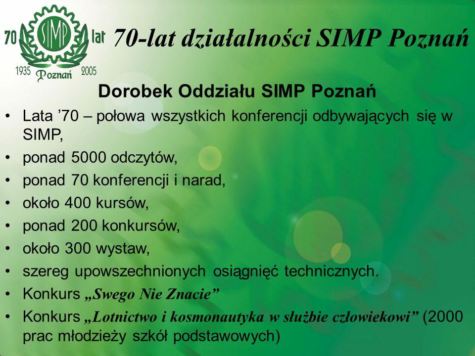 70-lat działalności SIMP Poznań Dorobek Oddziału SIMP Poznań Lata 70 – połowa wszystkich konferencji odbywających się w SIMP, ponad 5000 odczytów, pon