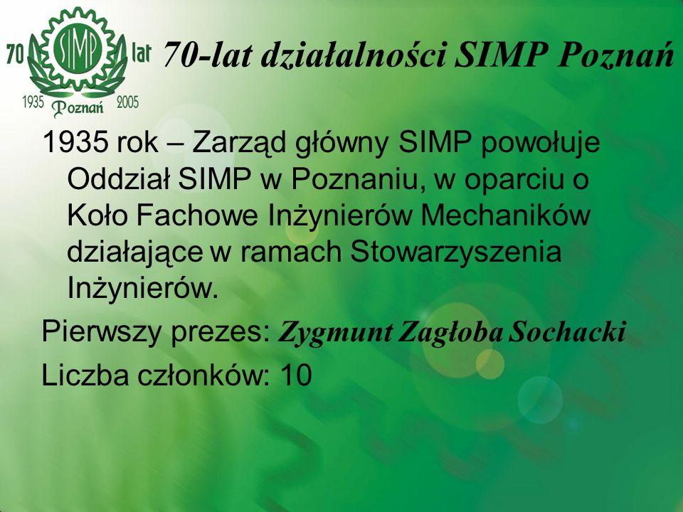 1935 rok – Zarząd główny SIMP powołuje Oddział SIMP w Poznaniu, w oparciu o Koło Fachowe Inżynierów Mechaników działające w ramach Stowarzyszenia Inży