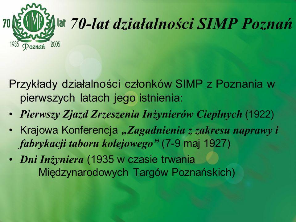 Przykłady działalności członków SIMP z Poznania w pierwszych latach jego istnienia: Pierwszy Zjazd Zrzeszenia Inżynierów Cieplnych (1922) Krajowa Konf