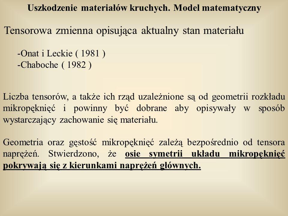 Uszkodzenie materiałów kruchych. Model matematyczny Tensorowa zmienna opisująca aktualny stan materiału -Onat i Leckie ( 1981 ) -Chaboche ( 1982 ) Lic