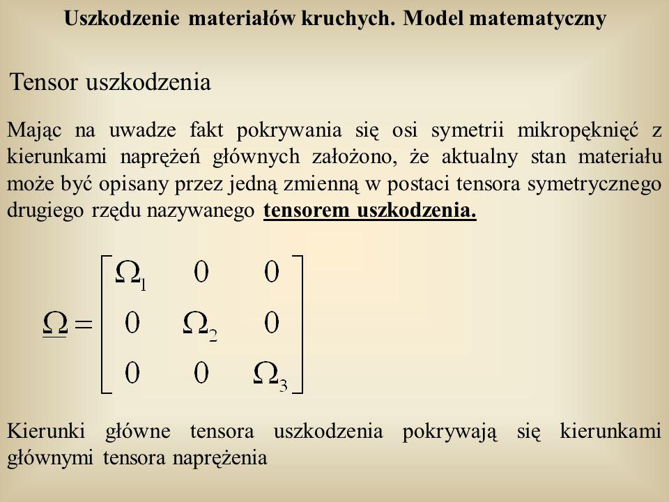 Uszkodzenie materiałów kruchych. Model matematyczny Tensor uszkodzenia Mając na uwadze fakt pokrywania się osi symetrii mikropęknięć z kierunkami napr