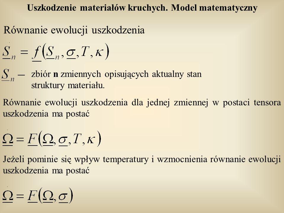 Uszkodzenie materiałów kruchych. Model matematyczny Równanie ewolucji uszkodzenia zbiór n zmiennych opisujących aktualny stan struktury materiału. Rów