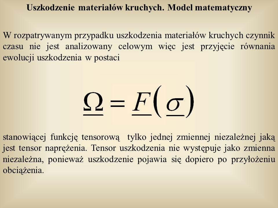 Uszkodzenie materiałów kruchych. Model matematyczny W rozpatrywanym przypadku uszkodzenia materiałów kruchych czynnik czasu nie jest analizowany celow