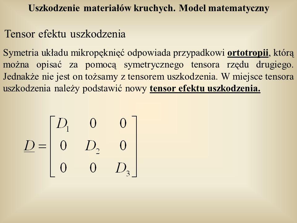 Uszkodzenie materiałów kruchych. Model matematyczny Tensor efektu uszkodzenia Symetria układu mikropęknięć odpowiada przypadkowi ortotropii, którą moż
