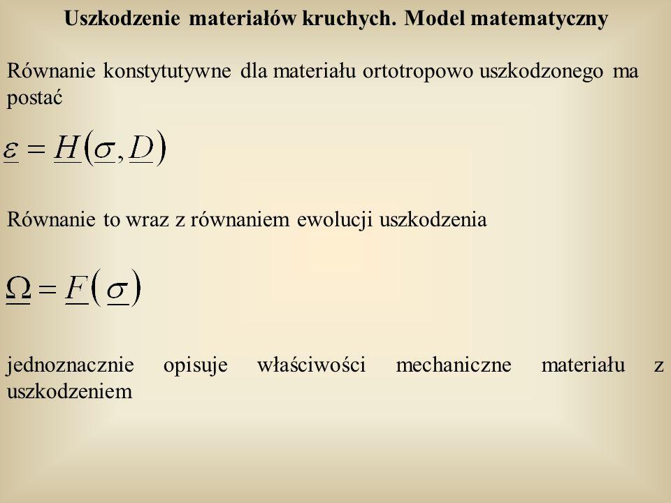 Równanie konstytutywne dla materiału ortotropowo uszkodzonego ma postać Równanie to wraz z równaniem ewolucji uszkodzenia jednoznacznie opisuje właści