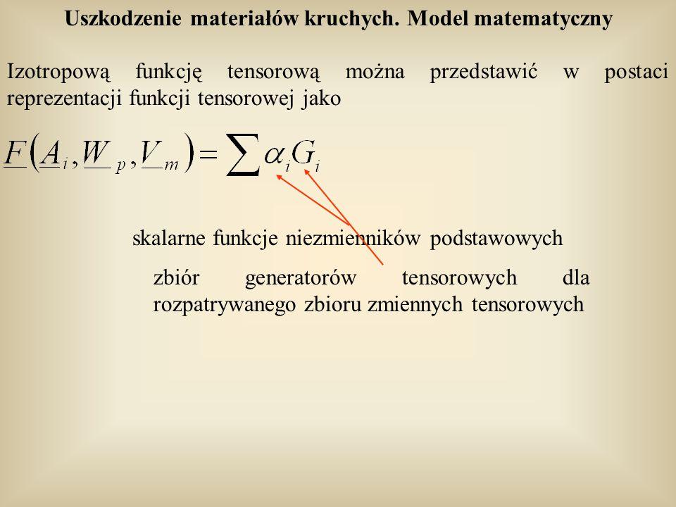 Uszkodzenie materiałów kruchych. Model matematyczny Izotropową funkcję tensorową można przedstawić w postaci reprezentacji funkcji tensorowej jako ska