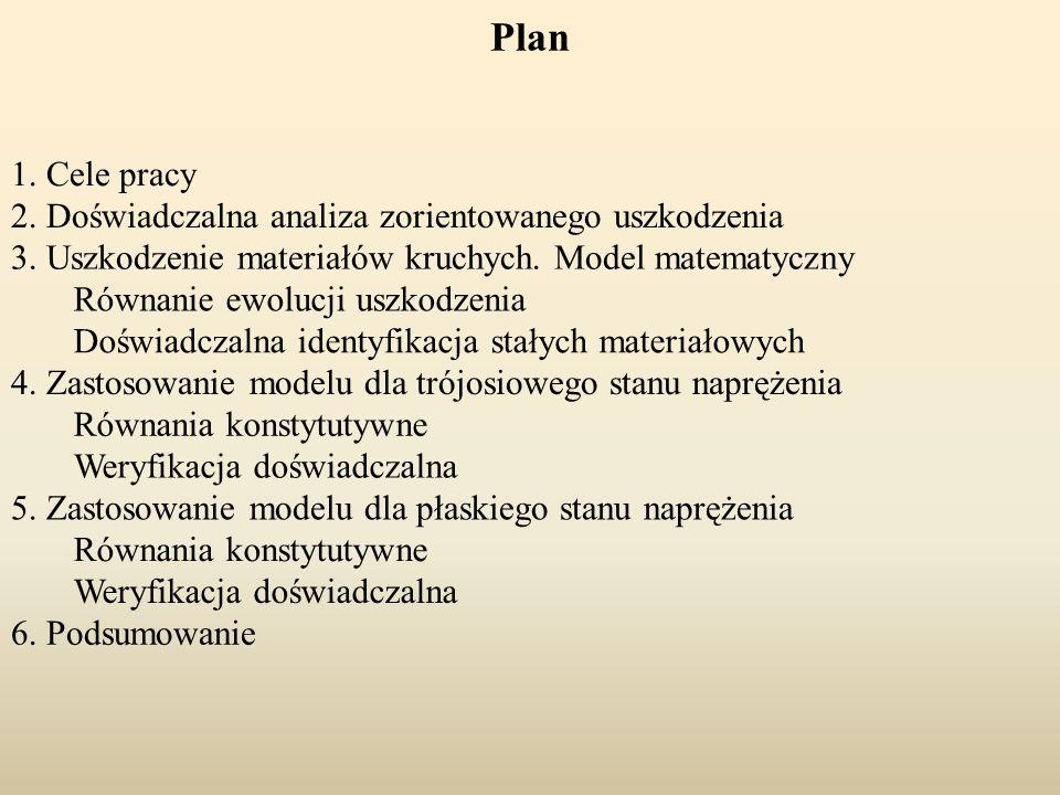 Plan 1. Cele pracy 2. Doświadczalna analiza zorientowanego uszkodzenia 3. Uszkodzenie materiałów kruchych. Model matematyczny Równanie ewolucji uszkod