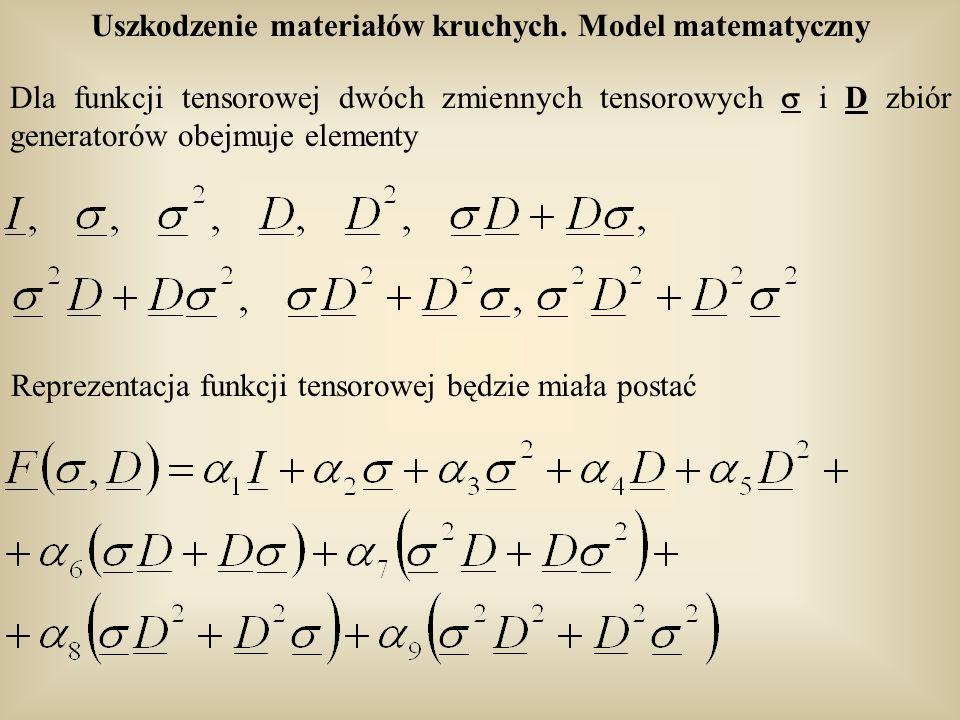 Uszkodzenie materiałów kruchych. Model matematyczny Dla funkcji tensorowej dwóch zmiennych tensorowych i D zbiór generatorów obejmuje elementy Repreze