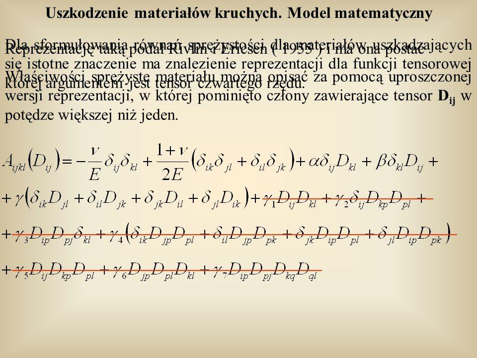 Uszkodzenie materiałów kruchych. Model matematyczny Dla sformułowania równań sprężystości dla materiałów uszkadzających się istotne znaczenie ma znale