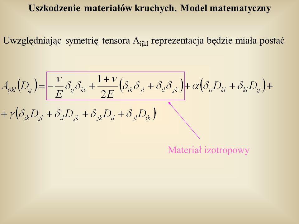 Uszkodzenie materiałów kruchych. Model matematyczny Uwzględniając symetrię tensora A ijkl reprezentacja będzie miała postać Materiał izotropowy