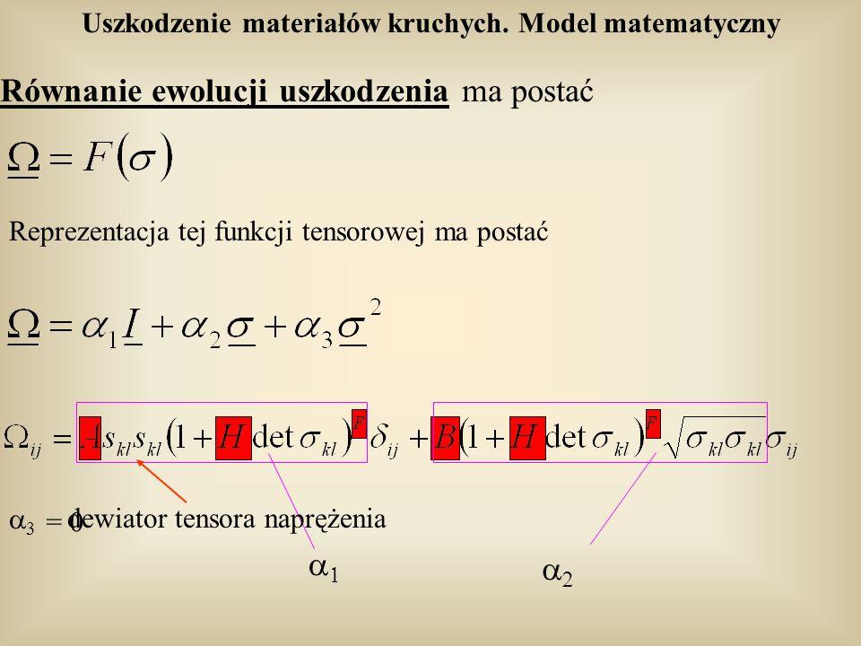 Uszkodzenie materiałów kruchych. Model matematyczny Równanie ewolucji uszkodzenia ma postać dewiator tensora naprężenia Reprezentacja tej funkcji tens