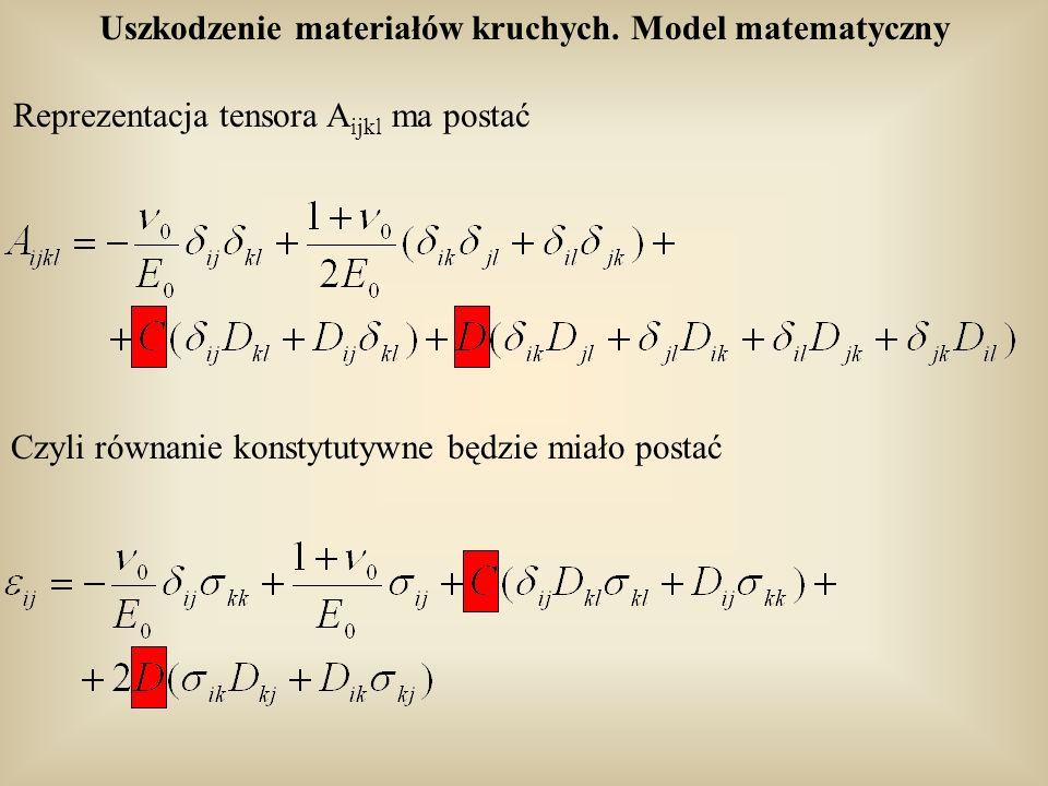 Uszkodzenie materiałów kruchych. Model matematyczny Czyli równanie konstytutywne będzie miało postać Reprezentacja tensora A ijkl ma postać