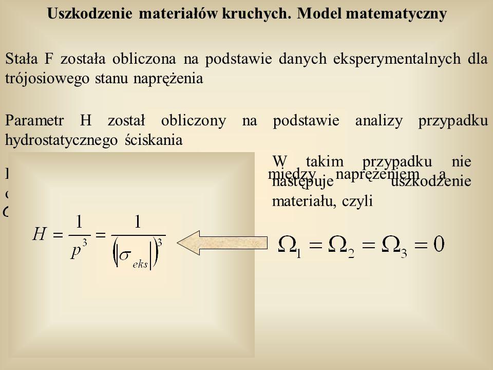 Uszkodzenie materiałów kruchych. Model matematyczny Stała F została obliczona na podstawie danych eksperymentalnych dla trójosiowego stanu naprężenia