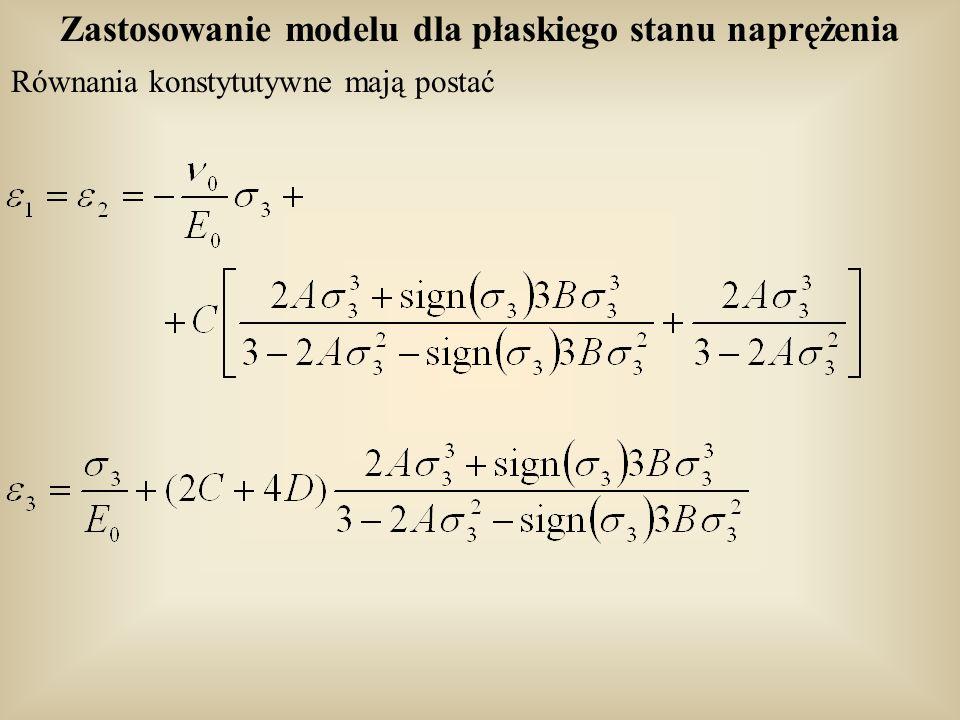 Zastosowanie modelu dla płaskiego stanu naprężenia Równania konstytutywne mają postać