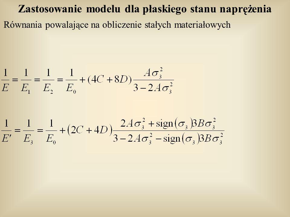 Zastosowanie modelu dla płaskiego stanu naprężenia Równania powalające na obliczenie stałych materiałowych