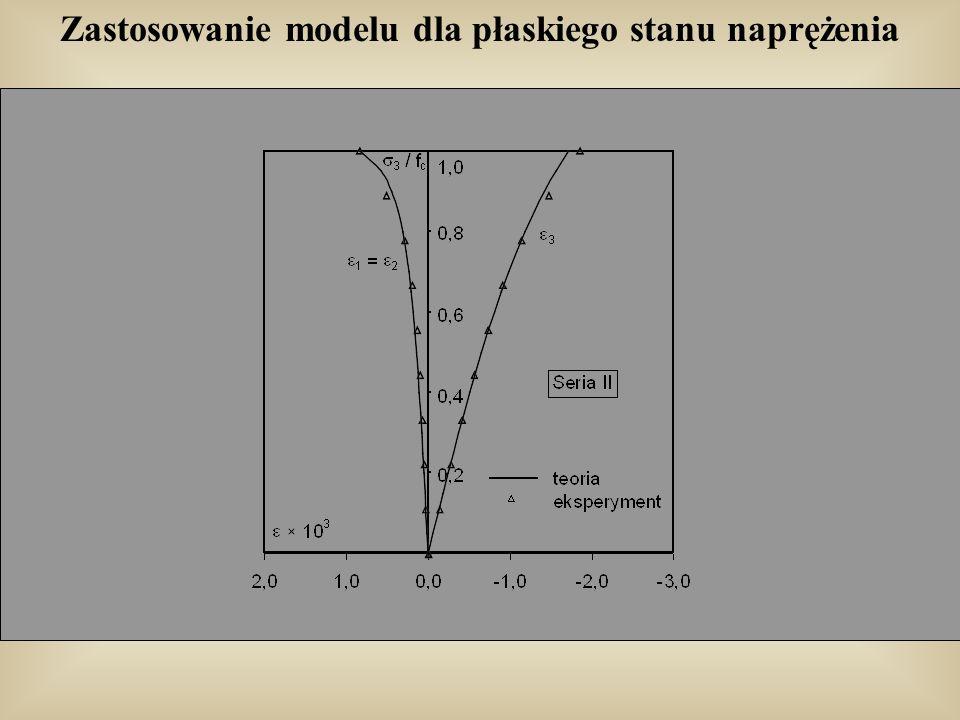 Zastosowanie modelu dla płaskiego stanu naprężenia