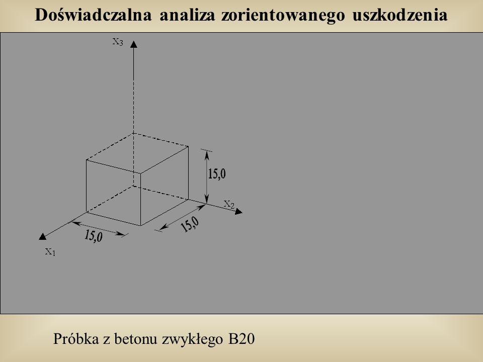 Doświadczalna analiza zorientowanego uszkodzenia Próbka z betonu zwykłego B20