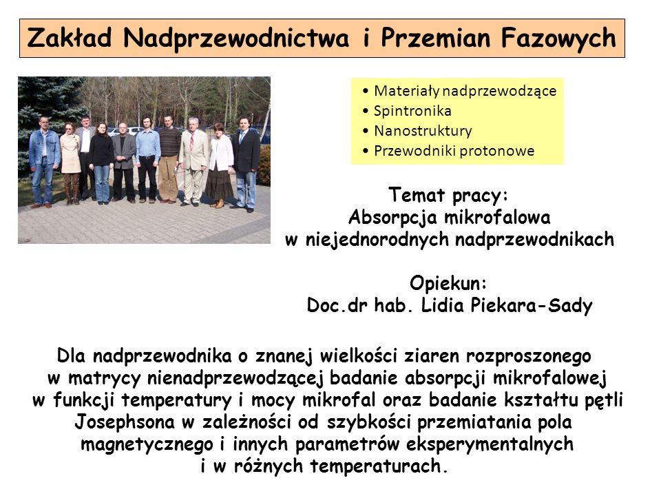 Zakład Nadprzewodnictwa i Przemian Fazowych Temat pracy: Absorpcja mikrofalowa w niejednorodnych nadprzewodnikach Opiekun: Doc.dr hab. Lidia Piekara-S