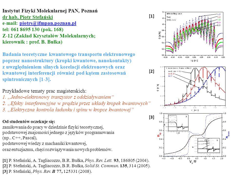 =Γ/U [1] P. Stefański, A. Tagliacozzo, B.R. Bułka, Phys. Rev. Lett. 93, 186805 (2004). [2] P. Stefański, A. Tagliacozzo, B.R. Bułka, Solid St. Commun.