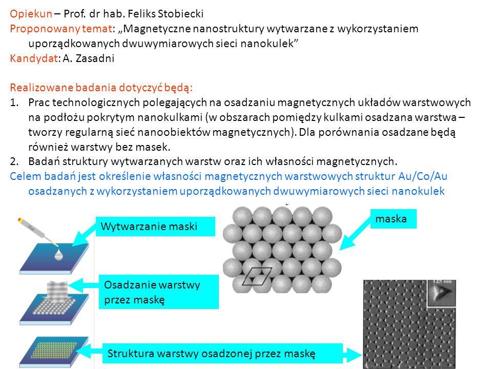 Opiekun – Prof. dr hab. Feliks Stobiecki Proponowany temat: Magnetyczne nanostruktury wytwarzane z wykorzystaniem uporządkowanych dwuwymiarowych sieci