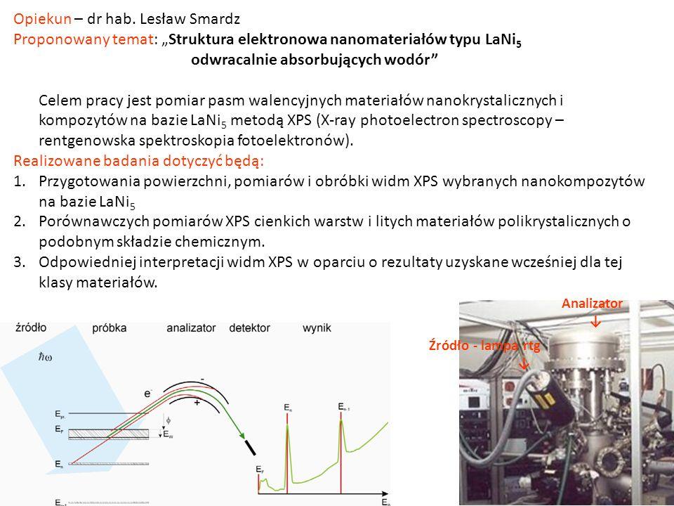 Opiekun – dr hab. Lesław Smardz Proponowany temat: Struktura elektronowa nanomateriałów typu LaNi 5 odwracalnie absorbujących wodór Celem pracy jest p