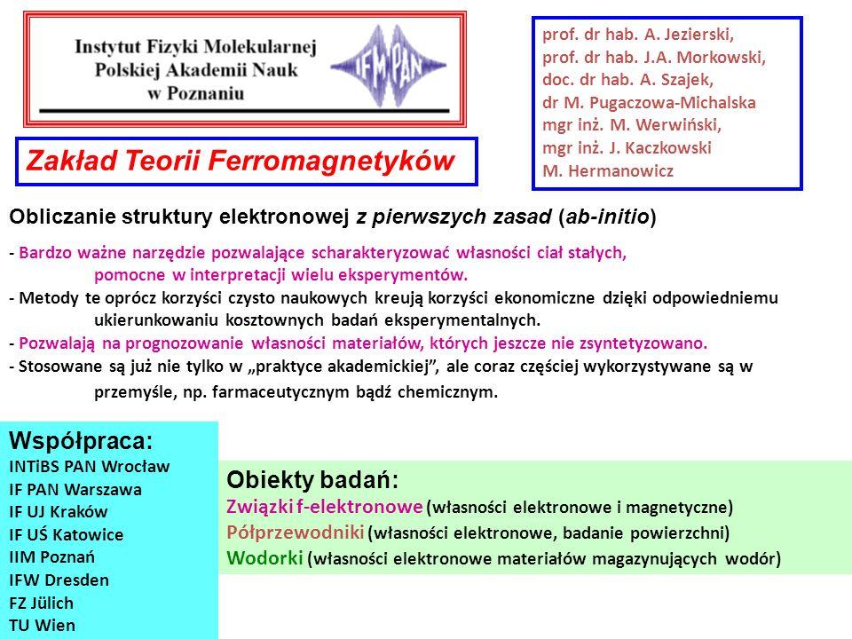 prof. dr hab. A. Jezierski, prof. dr hab. J.A. Morkowski, doc. dr hab. A. Szajek, dr M. Pugaczowa-Michalska mgr inż. M. Werwiński, mgr inż. J. Kaczkow
