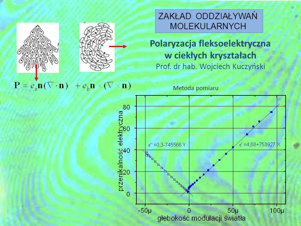 Polaryzacja fleksoelektryczna w ciekłych kryształach Prof. dr hab. Wojciech Kuczyński Metoda pomiaru ZAKŁAD ODDZIAŁYWAŃ MOLEKULARNYCH