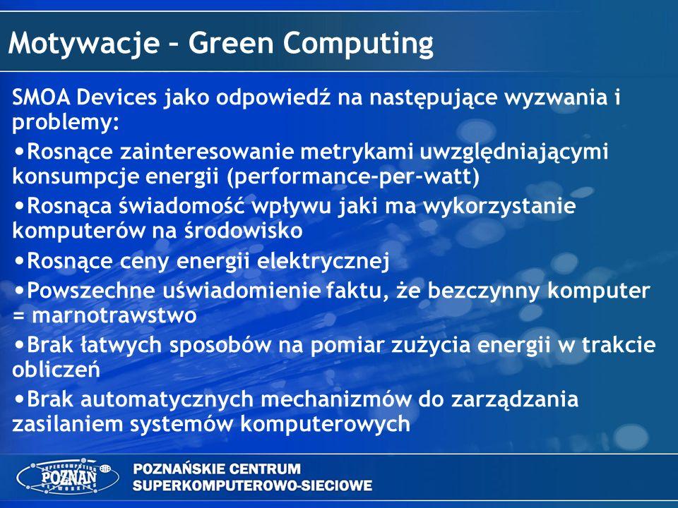 Problemy Podczas rozważania sposobów na sieciowe zarządzanie poborem prądu pojawiają się następujące problemy: Użyteczna funkcjonalność znajduje się w różnych miejscach i na różnych poziomach abstrakcji: – Poprawne zamknięcie i wstrzymanie – system operacyjny maszyny – Wybudzenie po wyłączeniu – inna maszyna w sieci – Pomiar zużycia energii – dedykowane rozwiązanie sprzętowe monitorowane przez kolejną maszynę Administratorzy sieci niechętnie otwierają dodatkowe porty na maszynach Dostarczenie jednorodnego interfejsu do monitorowania stanów zasilania maszyn