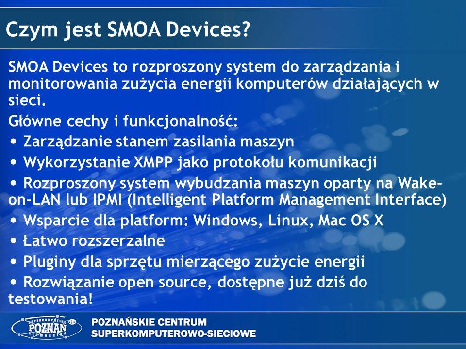 Czym jest SMOA Devices? SMOA Devices to rozproszony system do zarządzania i monitorowania zużycia energii komputerów działających w sieci. Główne cech