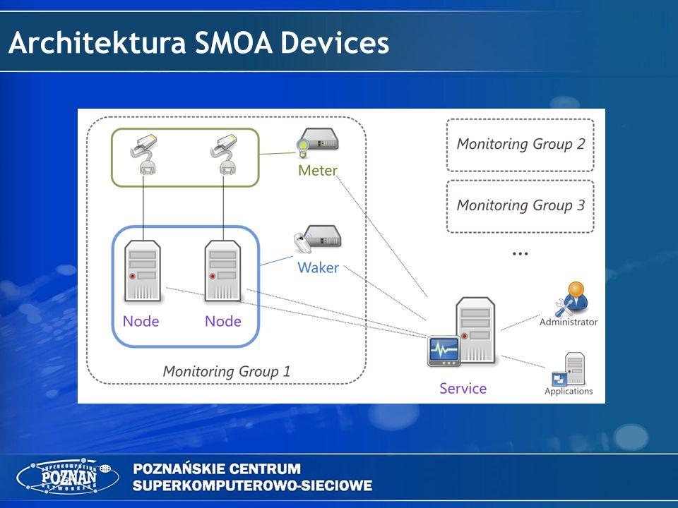SMOA Devices Nodes Węzły w systemie wyposażone są w oprogramowanie SMOA Devices napisane w Pythonie dla większej przenośności i rozszerzalności.