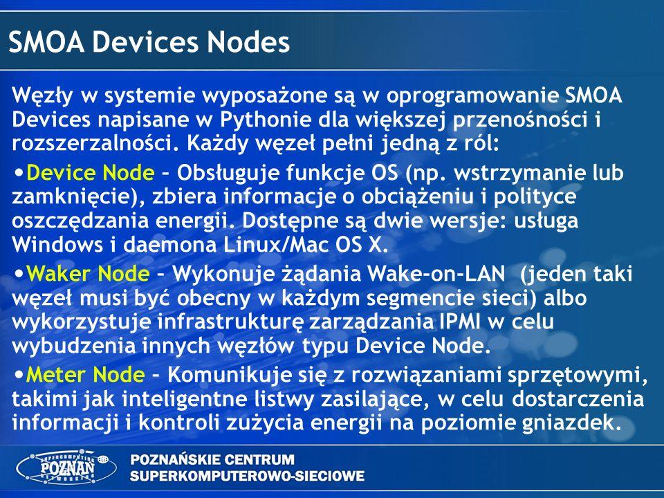 SMOA Devices Service Usługa SMOA Device Service odgrywa kluczową rolę w systemie: Zbiera i agreguje informacje oraz funkcjonalność węzłów Device, Waker i Meter Parowanie węzłów Waker i Device w celu udostępnienia kompletnej funkcjonalności do włączania/wyłączania maszyn Dostarcza łatwy w użyciu interfejs typu REST do zebranych danych Autoryzacja użytkowników Dostarczanie statystyk o systemie i jego maszynach