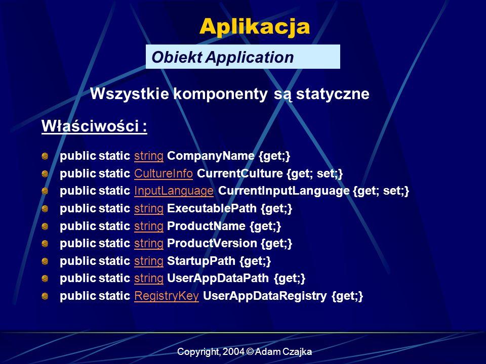Copyright, 2004 © Adam Czajka Aplikacja Obiekt Application public static string CompanyName {get;}string public static CultureInfo CurrentCulture {get