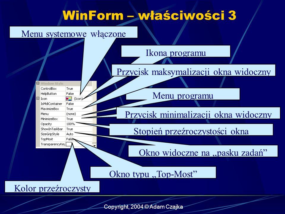 Copyright, 2004 © Adam Czajka Menu systemowe włączone Ikona programu Menu programu Przycisk minimalizacji okna widoczny Przycisk maksymalizacji okna w