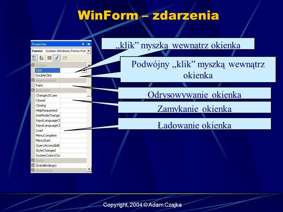 Copyright, 2004 © Adam Czajka WinForm – zdarzenia klik myszką wewnątrz okienka Podwójny klik myszką wewnątrz okienka Odrysowywanie okienka Zamykanie o
