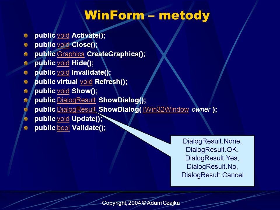 Copyright, 2004 © Adam Czajka WinForm – metody public void Activate();void public void Close();void public Graphics CreateGraphics();Graphics public v