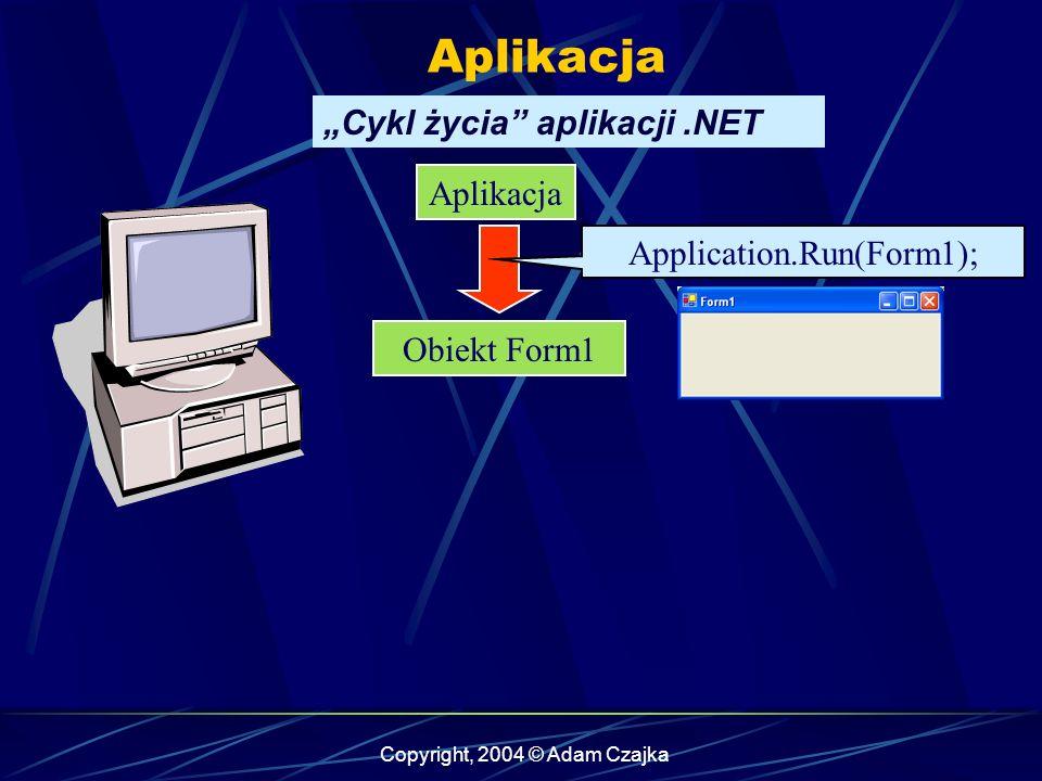 Copyright, 2004 © Adam Czajka Aplikacja Obiekt Form1 Application.Run(Form1); Cykl życia aplikacji.NET